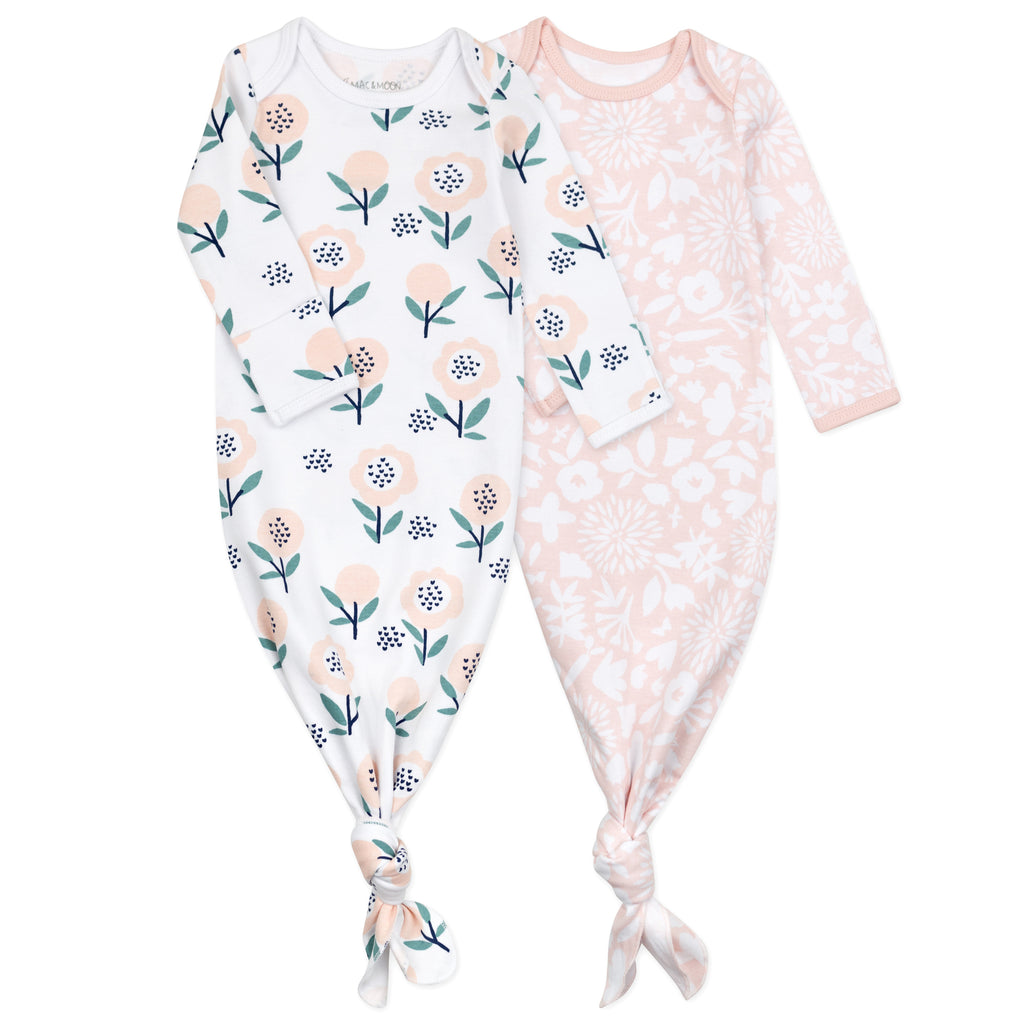 2-Pack Baby Gown in Bunny Floral Print