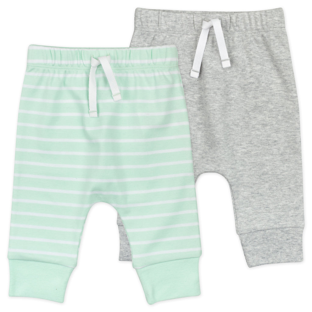 2-Pack Pant in Mint Stripes & Heather Gray