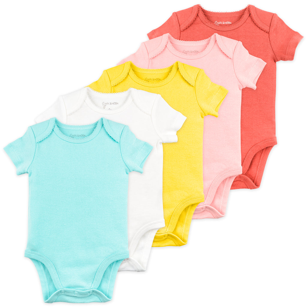 5-Pack Short Sleeve Bodysuit in Coral Reef Colors