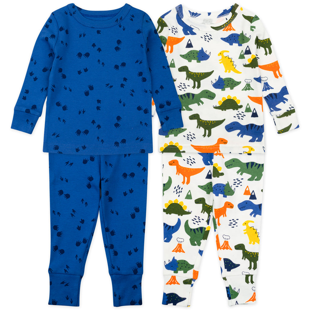 4-Piece Pajama Set in Dinosaur Print