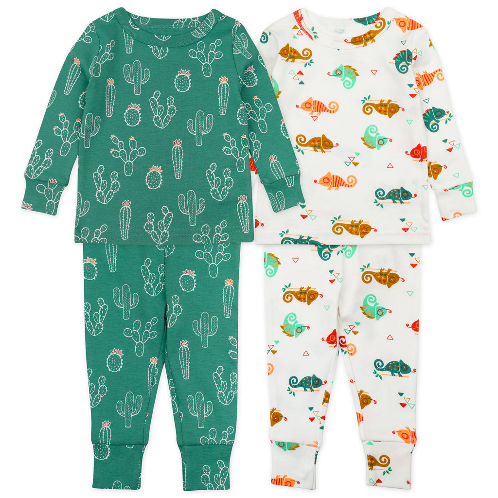 4-Piece Pajama Set in Chameleon Print
