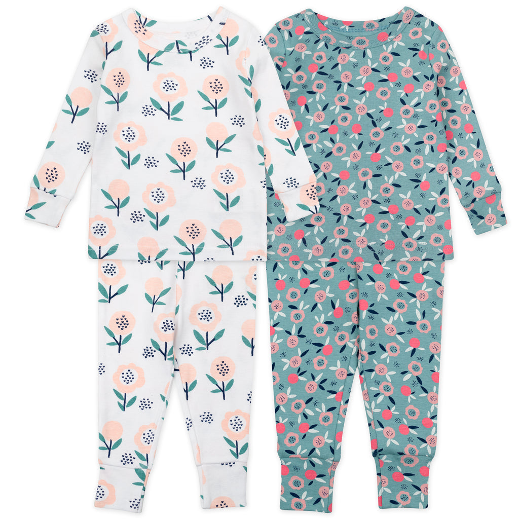 4-Piece Pajama Set in Floral Print