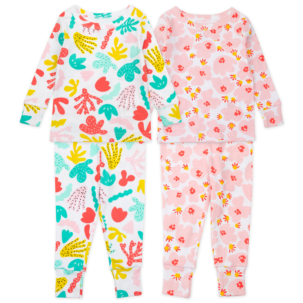 4-Piece Pajama Set in Coral Reef Print