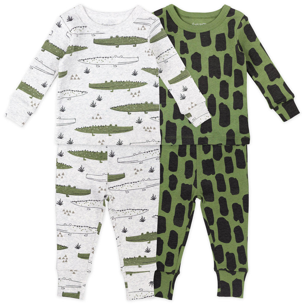 4-Piece Pajama Set in Crocodile Print