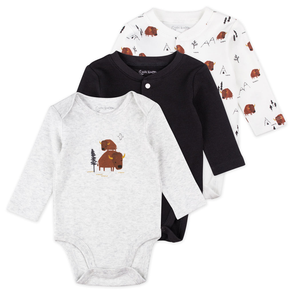 3-Pack Long Sleeve Bodysuits in Buffalo Print