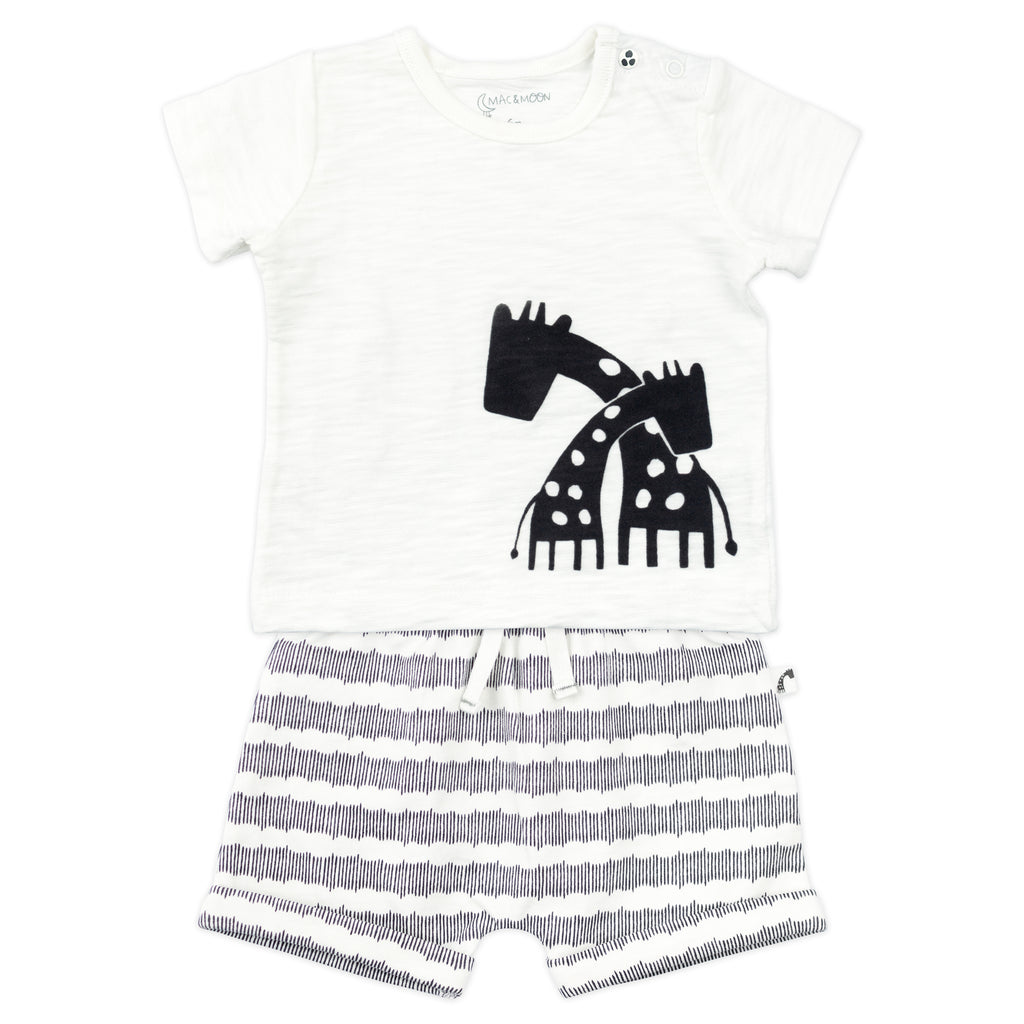 2-Piece Short Set in Mono Animal Print