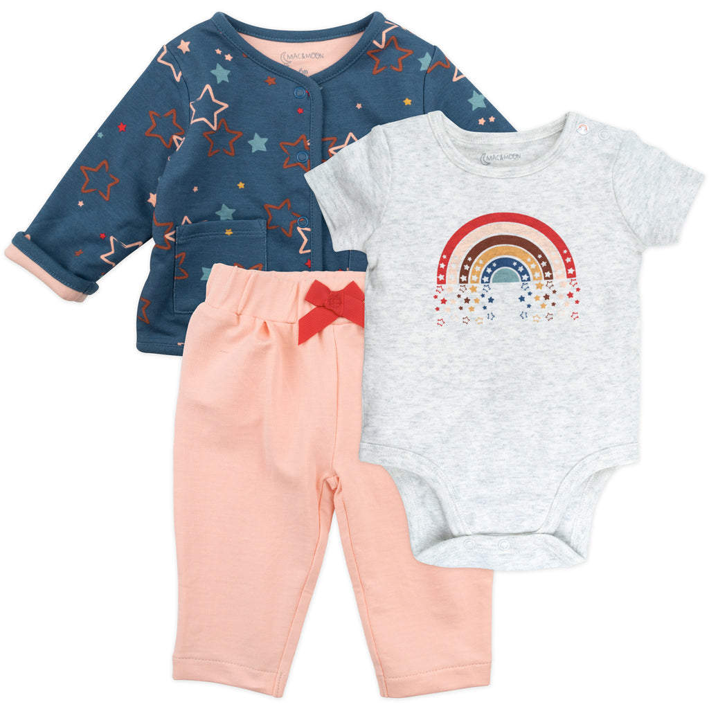 3-Piece Rainbow Star Cardigan Set
