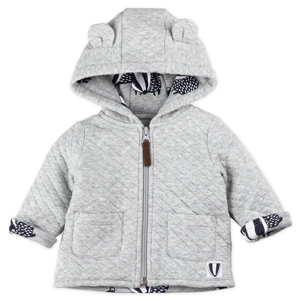 Heather Gray Quilted Jacket with Badger Print