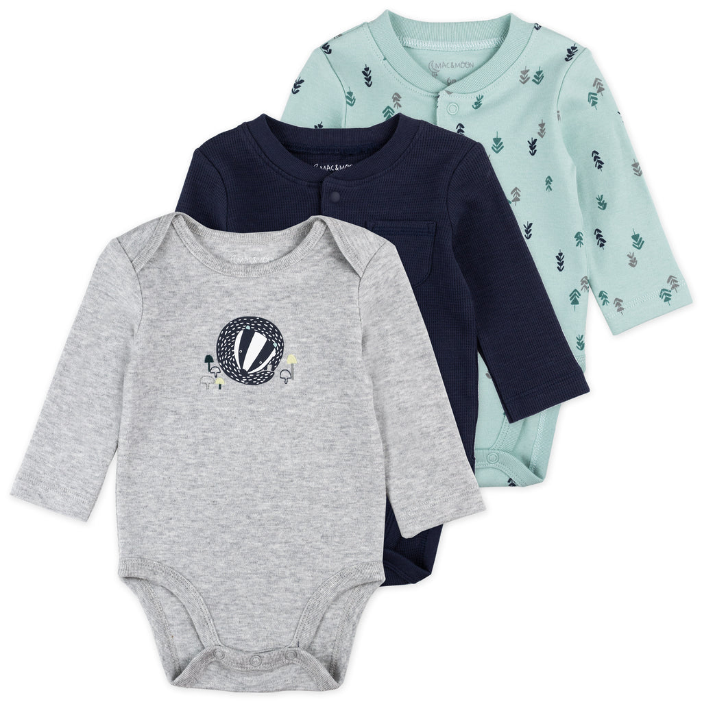 3-Pack Long Sleeve Bodysuits in Badger Print