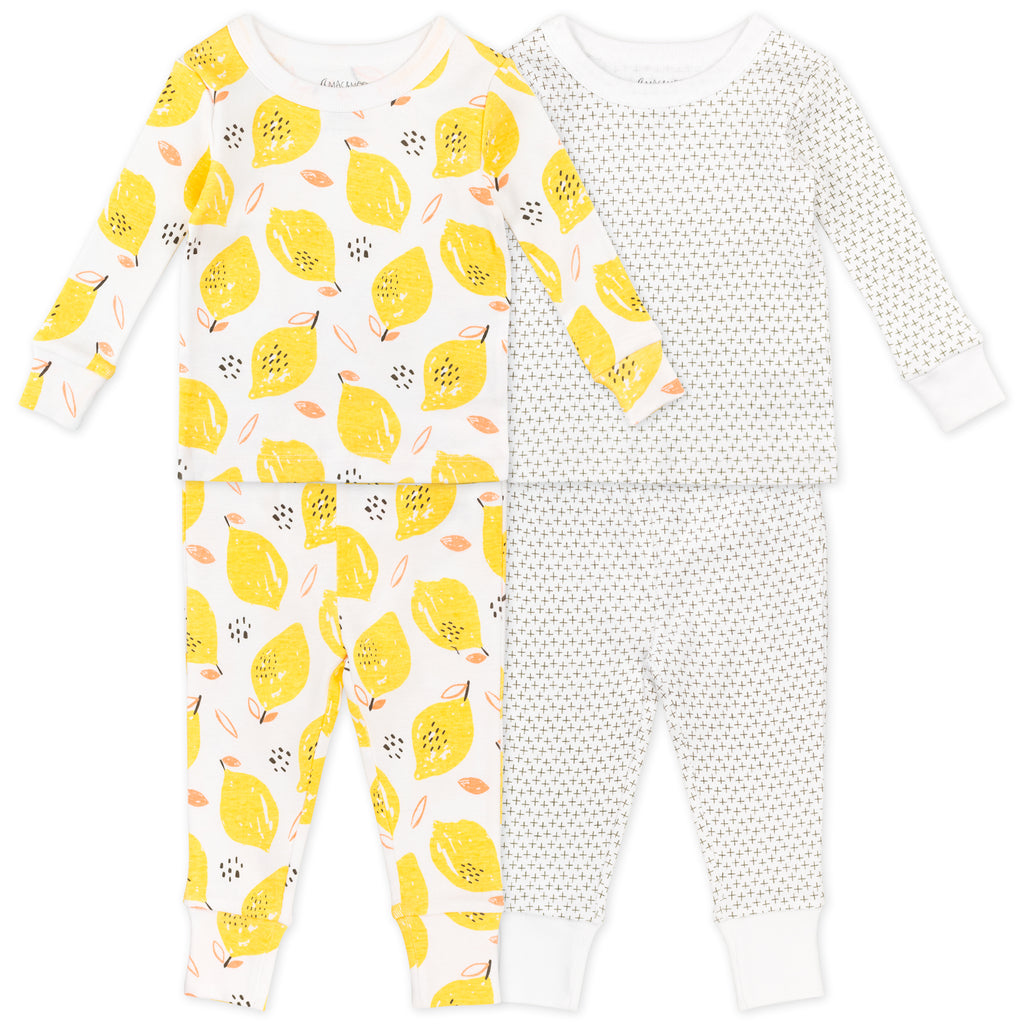 4-Piece Pajama Set in Lemon Print