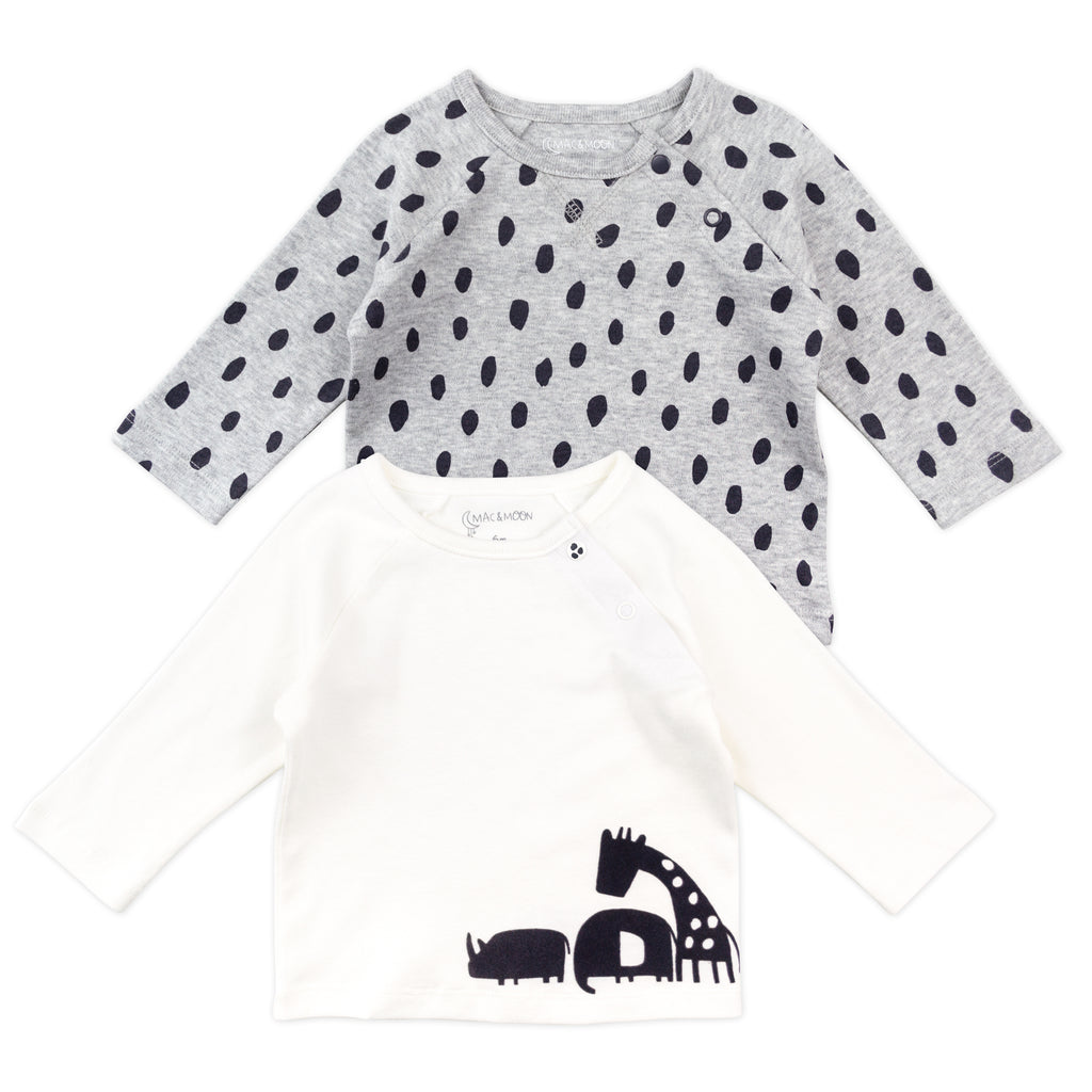 2-Pack Long Sleeve Tees in Animal Dot Print
