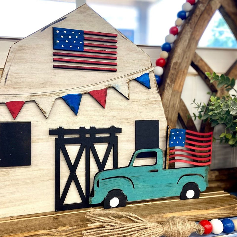 Patriotic Barn & Truck on Stand