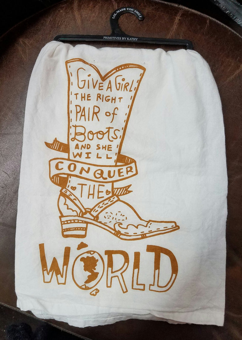 Primitives by Kathy LOL Dish Towel Conquer the World