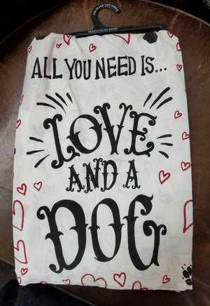Primitives by Kathy LOL Dish Towel Love & a Dog