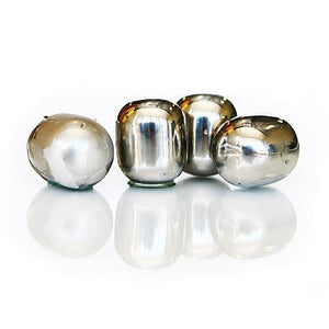 Wine Pearls - S/4 Hand Polished Stainless Steel Metal Chillers