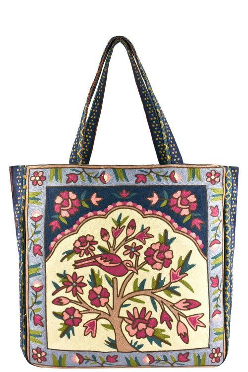 Tribal Embroidered Tote Bag
