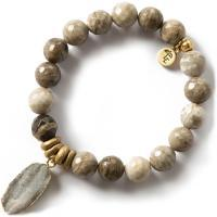 Gemstone Bracelet 10mm - Silver Leaf Jasper