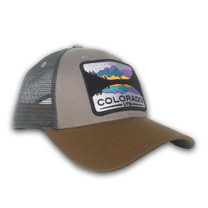 Grey/Tan Maroon Bells Low-Profile Trucker Hat