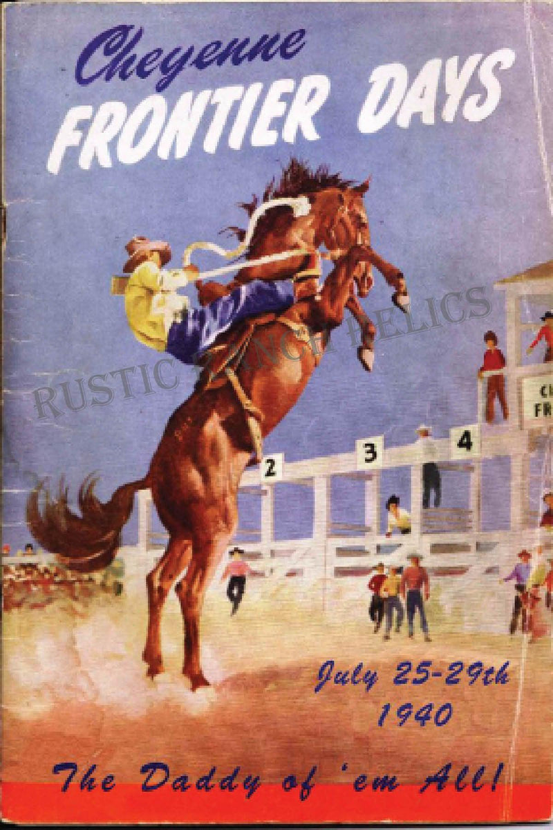 Cheyenne Frontier Days 1940 - Vintage Rodeo Poster