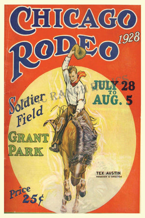 Chicago Rodeo 1928 - Vintage Rodeo Poster