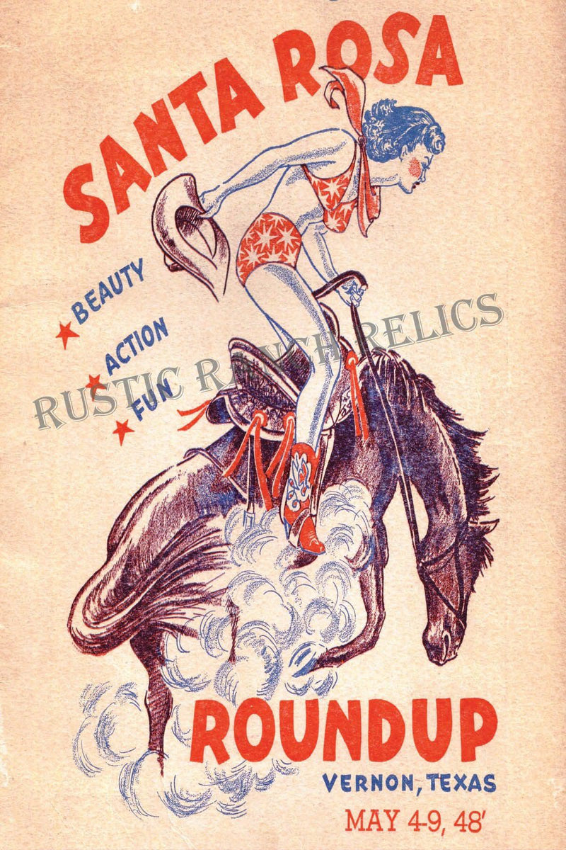 Santa Rosa Round Up - Vintage Rodeo Poster