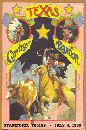 Stamford Cowboy Reunion 1930 - Vintage Rodeo Poster