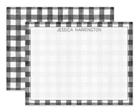 Black & White Gingham Pattern Personalized Note Cards Stationery