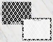 Black & White Ikat Pattern Personalized Note Cards Stationery