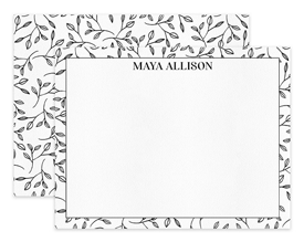 Black & White Leaf Pattern Personalized Note Cards Stationery