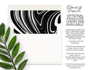 Black & White Marble Swirl Personalized Note Cards Stationery