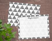 Black & White Triangle Pattern Personalized Note Cards Stationery
