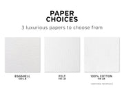 stationery paper choices, eggshell 120 lb., felt 110 lb., or 100% cotton 118 lb, Cloud 9 Paperie note cards
