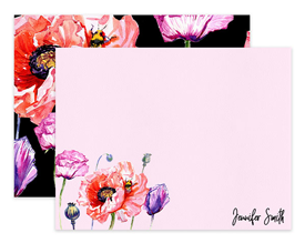 Black & Pink Poppy Flower Floral Personalized Note Cards Stationery