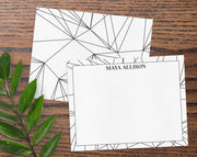 Geometric Abstract Black & White Personalized Note Cards Stationery
