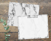 Black & White Marble Personalized Note Cards Stationery