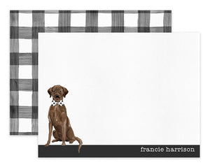 Chocolate Labrador Retriever Dog B&W Bow Tie Personalized Note Cards Stationery