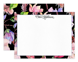 Pink & Black Magnolia Floral Personalized Note Cards Stationery