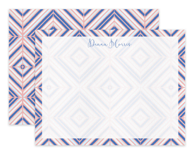 Pink & Blue Diamond Tile Pattern Personalized Note Cards Stationery
