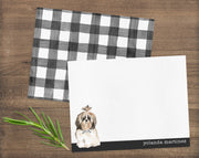 Shih Tzu Dog B&W Bow Tie Personalized Note Cards Stationery