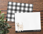 Wheaten Terrier Dog B&W Bow Tie Personalized Note Cards Stationery