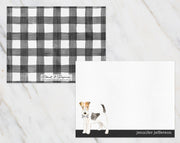 Wire-haired Fox Terrier Dog B&W Bow Tie Personalized Note Cards Stationery