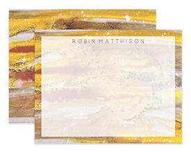 Amber Abstract Watercolor Personalized Note Cards Stationery