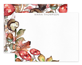 Autumn Mushrooms & Acorns Personalized Note Cards Stationery