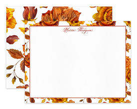 Autumn Roses Flower Floral Personalized Note Cards Stationery