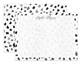 Black & White Watercolor Dots Personalized Note Cards Stationery