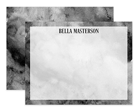 Black & White Watercolor Personalized Note Cards Stationery