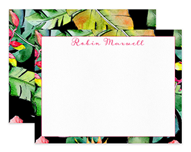 Black Tropical Bright Foliage Personalized Note Cards Stationery