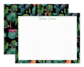 Black Wild Cactus Watercolor Personalized Note Cards Stationery