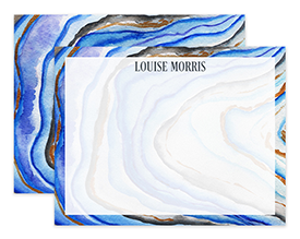 Blue Agate Watercolor Personalized Note Cards Stationery