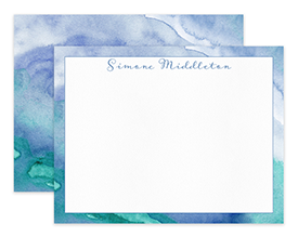 Blue & Teal Abstract Watercolor Personalized Note Cards Stationery